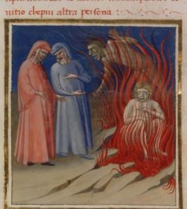 Dante (auteur), Benevenutus de Rambaldis (commentateur), La divine comédie, v. 1420-1430, BNF, MS ITALIEN 74, fol. 80.