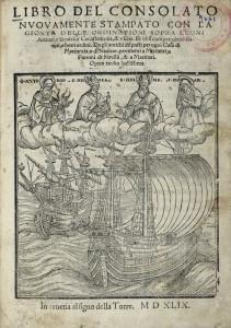 Libro del consolato_In venetia al signo della Torre. M D XLIX. (Stampato in Vinegia per Giovanni Padoano Ad instantia de Giuan [sic] Battista Pedrezzano)<br />Page de titre.<br />© Centre d'Études Supérieures de la Renaissance – Tours - BVH<br />Cote : SR 6A / 9661<br />URL : http://www.bvh.univ-tours.fr/Consult/index.asp?numfiche=587