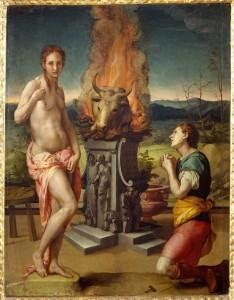 Bronzino, Pygmalion et Galatée, vers 1530 ou vers 1532. Huile sur bois, 81 x 63 cm. Museo deglu Uffizi, Florence