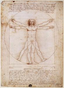 Léonard, L'Homme de Vitruve, 1492. Dessin, 343 x 245 mm. Galleria dell'Accademia, Venise