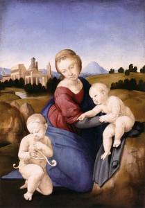 Raphaël, Madonna Esterhazy, 1508. Huile sur toile, 29 x 21,5 cm. Szépművészeti Múzeum, Budapest
