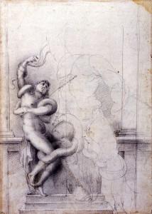 école florentine, étude d'après le Laocoon, vers 1560, Avignon, musée Cavet, Inv. 996.7.705