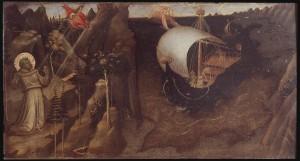 Giovanni Toscani, Saint François recevant les stigmates et Saint Nicolas de Baricalmant la tempête, 1423-1424, Florence, Galleria dell'Accademia