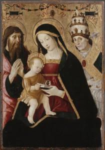 PINTURICCHIO, La Vierge et l'Enfant entre Saint Jérôme et Saint Grégoire le Grand, vers 1502 – 1508, 59 x 41 cm, Paris, Musée du Louvre
