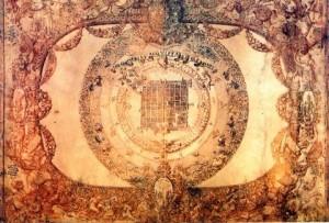 Pianta della Città di Torino entro cornice allegorica di Gerolamo Righettino (1583)