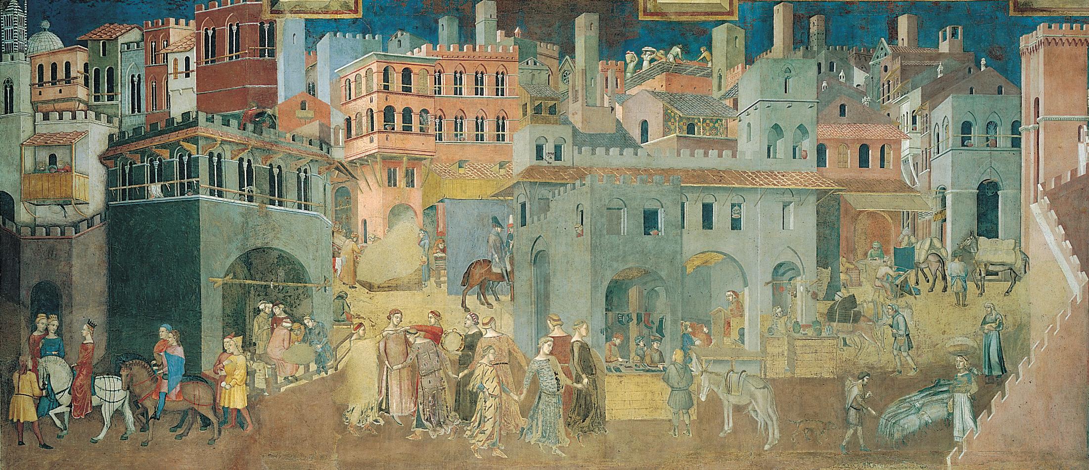 ambrogio-lorenzetti-les-effets-du-bon-gouvernement-en-ville-1338-fresques-palazzo-vecchio-sienne-1